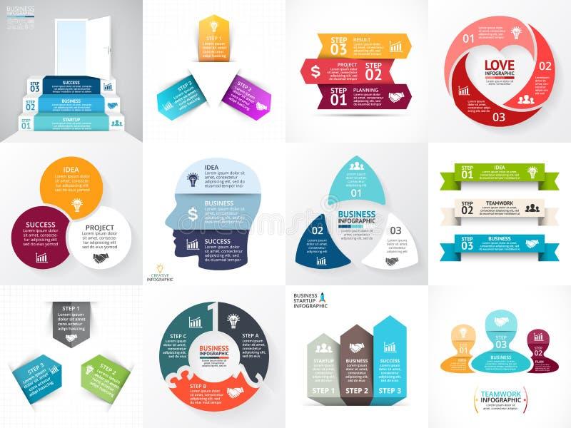 Infographic uppsättning för vektorcirkelpilar Affärsdiagram, grafer, startup logopresentation, idédiagram Dataalternativ, 3 royaltyfri foto