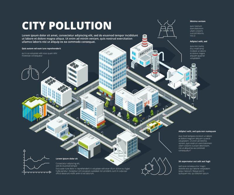 Infographic Urban Översikt för stad för gata för byggnader för trans. för megapolis för affärsidéfolkbefolkning isometrisk vektor illustrationer