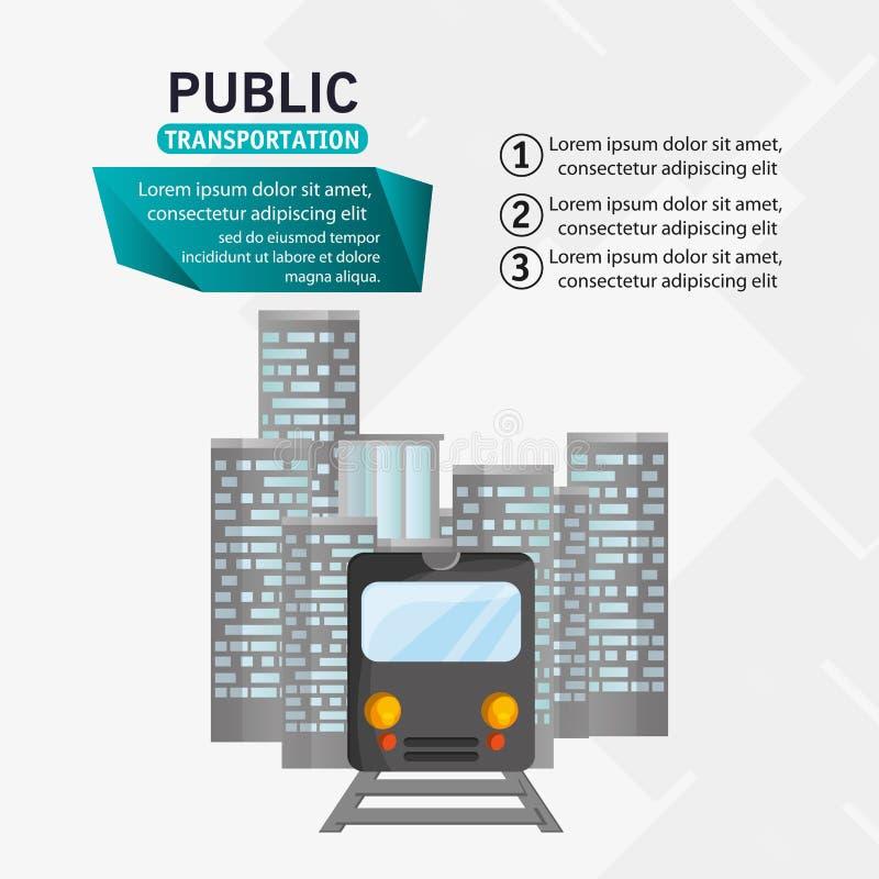 Infographic urbano do transporte público do passageiro do trem ilustração stock