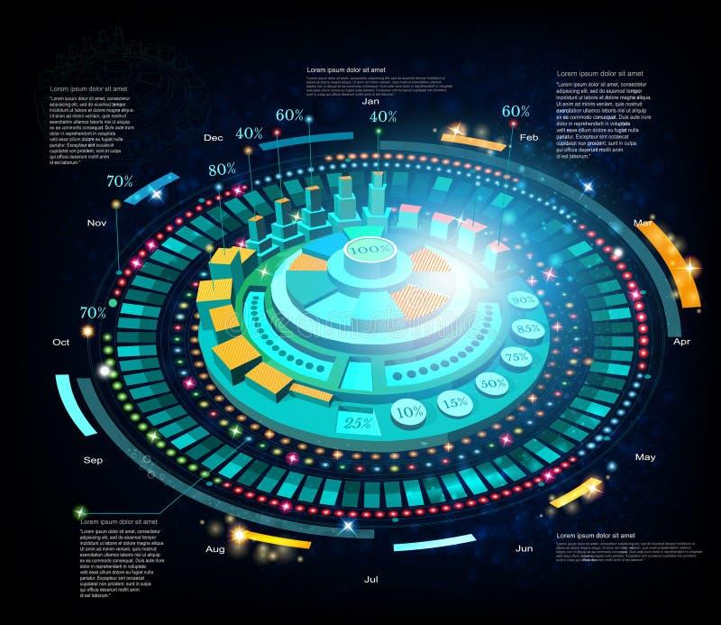Infographic utrymmebakgrund eller high tech futuristisk manöverenhet stock illustrationer