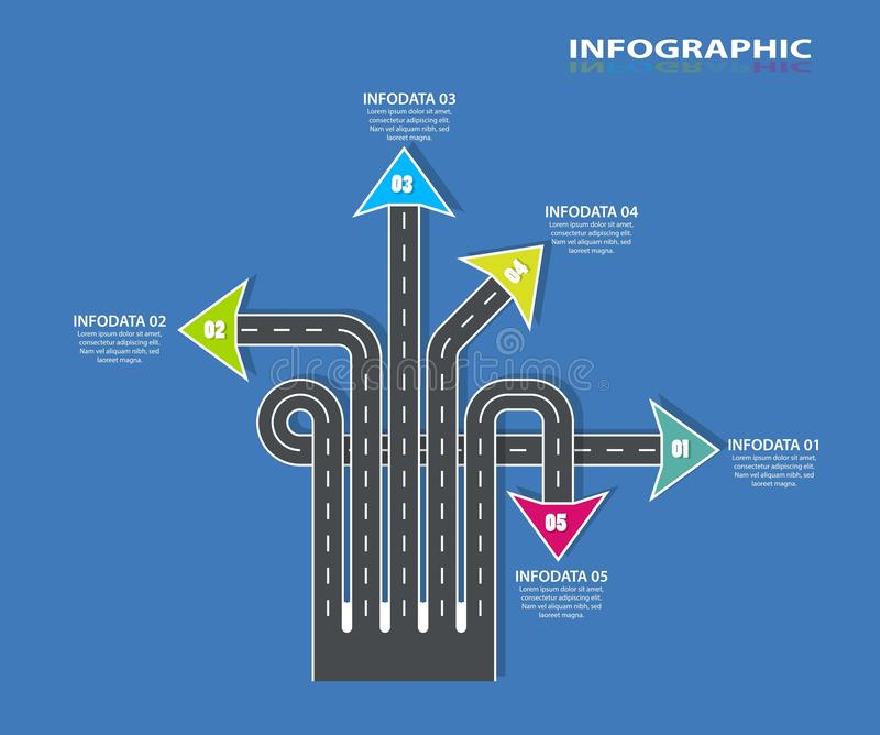 Infographic väg Informationsdiagrammall Spolande motorvägtimeline 5 moment, strategier eller affärsprocessar Vektor il vektor illustrationer