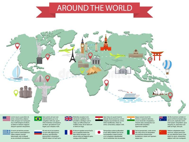 Infographic världsgränsmärken på översikt royaltyfri illustrationer
