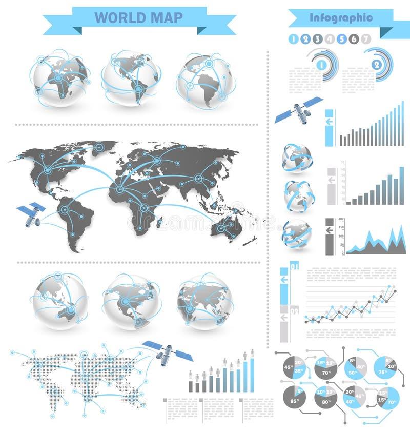 Infographic världskarta royaltyfri illustrationer