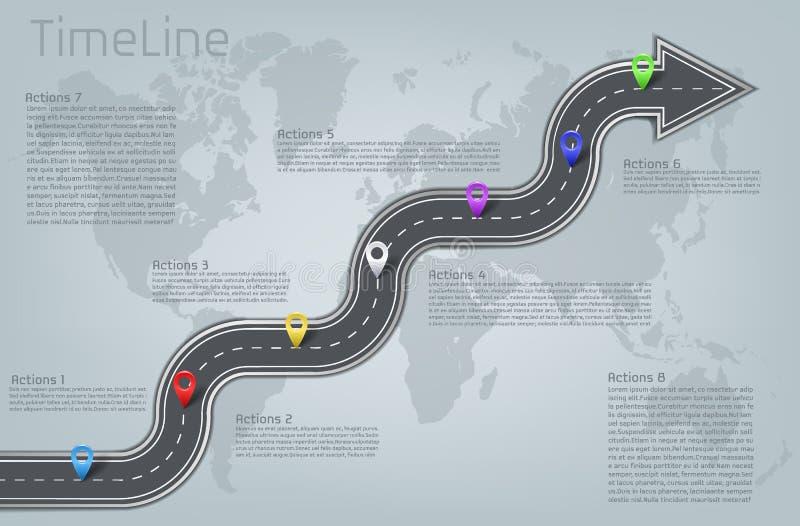 Infographic världskarta för vektor, vägtimelineorientering stock illustrationer