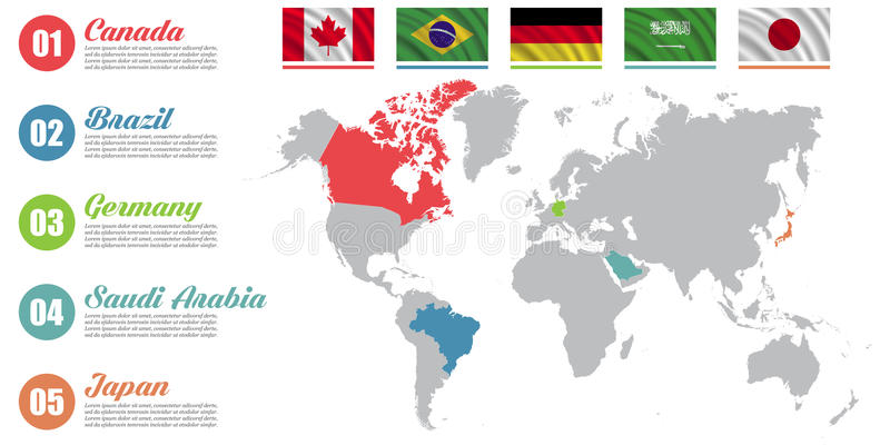 Infographic världskarta Glidbanapresentation Kanada Brasilien, Tyskland, begrepp för Saudiarabien, Japan affärsmarknadsföring Fär vektor illustrationer