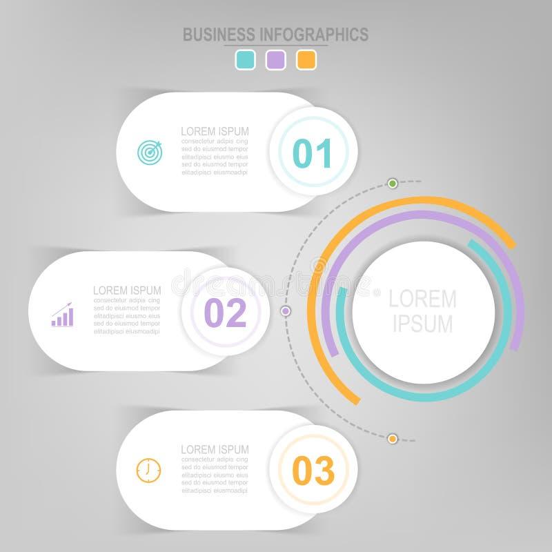 Infographic van cirkelelement, vlak ontwerp van bedrijfspictogramvector royalty-vrije illustratie