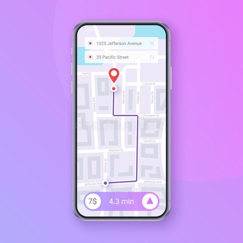 In Infographic van de Navigatie van de stadskaart Mobiel App Interfaceconceptontwerp Eps 10 royalty-vrije illustratie
