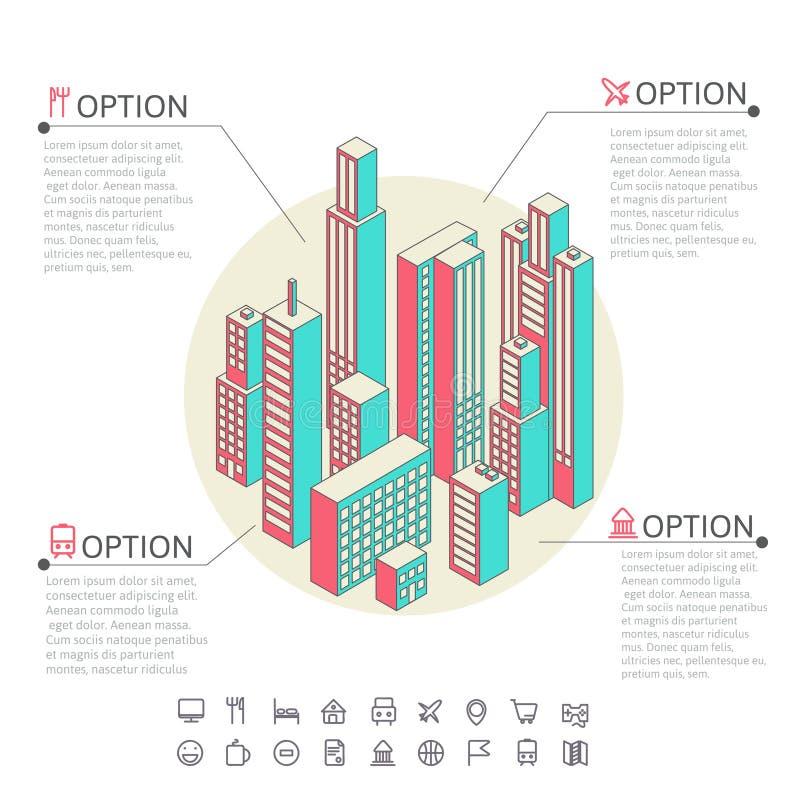 Infographic van kleurrijke gebouwen wordt gemaakt dat stock illustratie