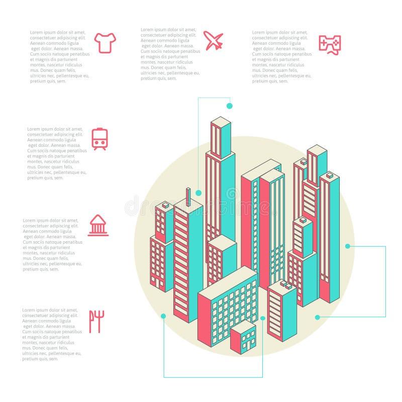 Infographic van kleurrijke gebouwen wordt gemaakt dat vector illustratie