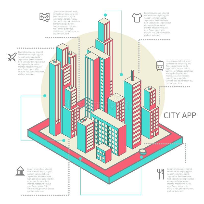 Infographic van kleurrijke gebouwen wordt gemaakt dat royalty-vrije illustratie