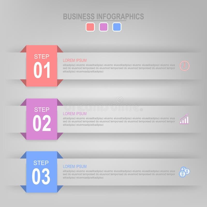 Infographic van stap, vlak ontwerp van bedrijfspictogramvector royalty-vrije illustratie