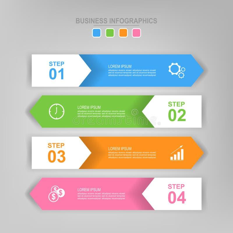 Infographic van stap, vlak ontwerp van bedrijfspictogramvector stock illustratie