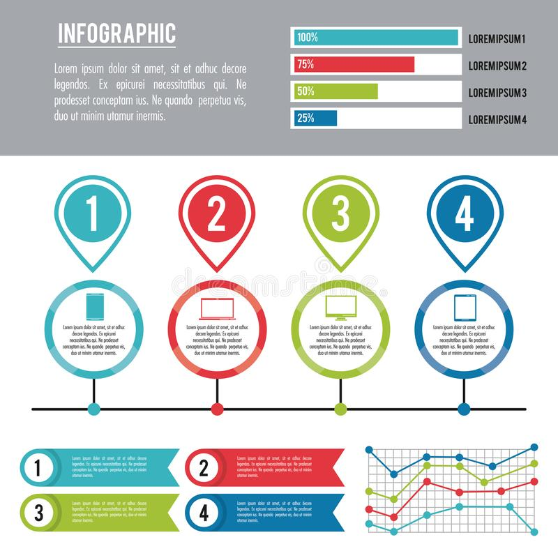 Infographic various diagrams. With electronic device vector illustration graphic design royalty free illustration