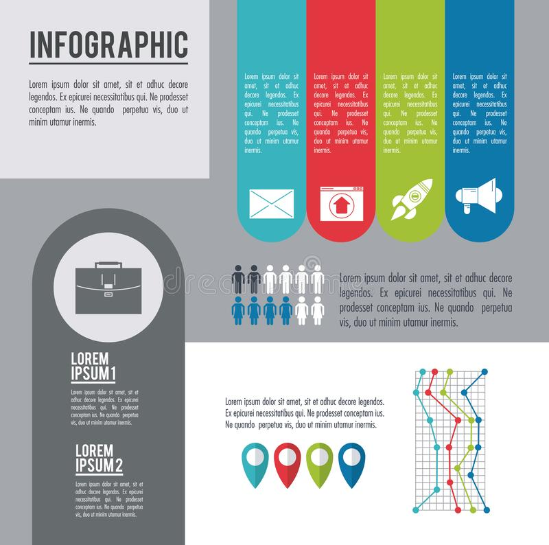 Infographic various diagrams. Tabs and population vector illustration graphic design royalty free illustration