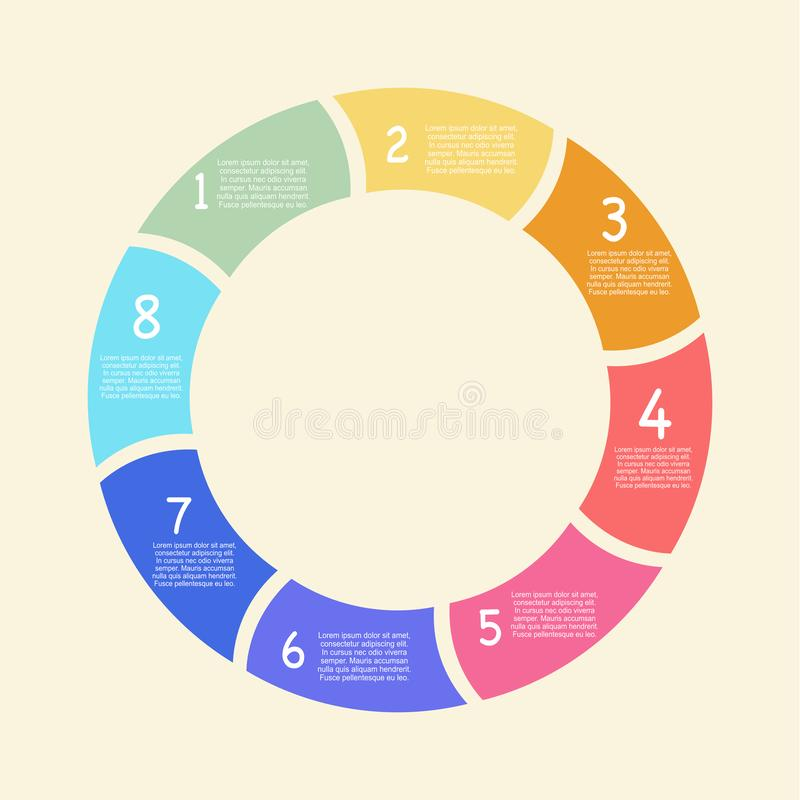 Infographic vector. Business process. Timeline infographics with 8 steps in circles. Vector chart. Workflow layout, process diagram, flow chart vector illustration