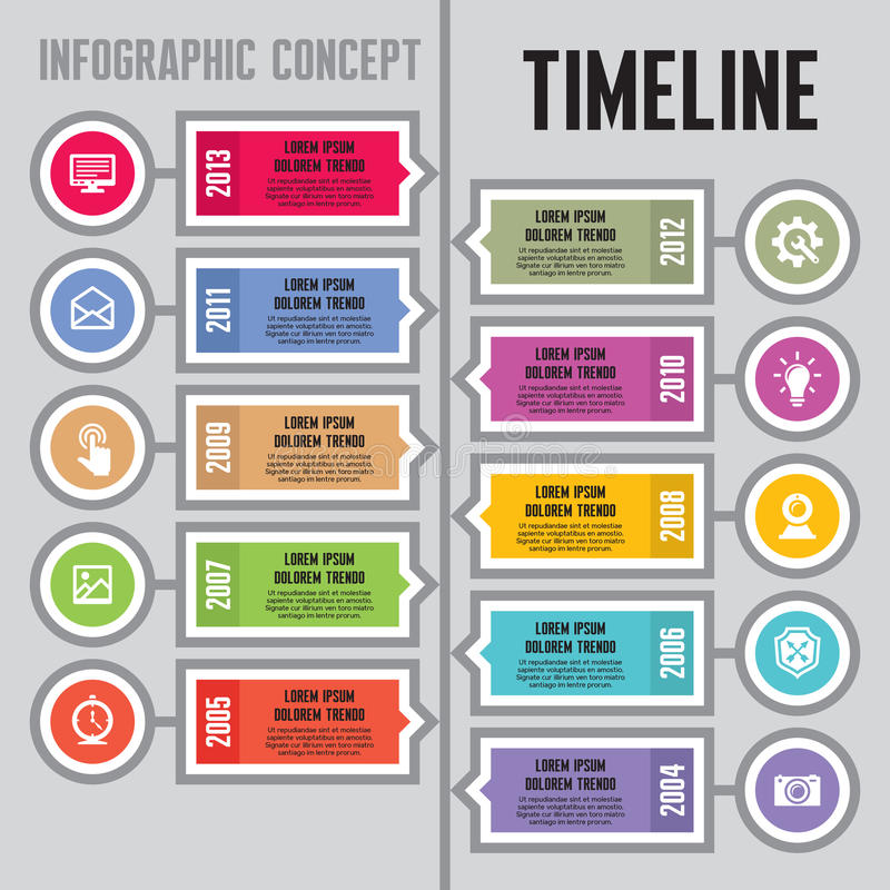 Infographic Vector Concept in Flat Design Style - Timeline & Steps - banners template stock illustration