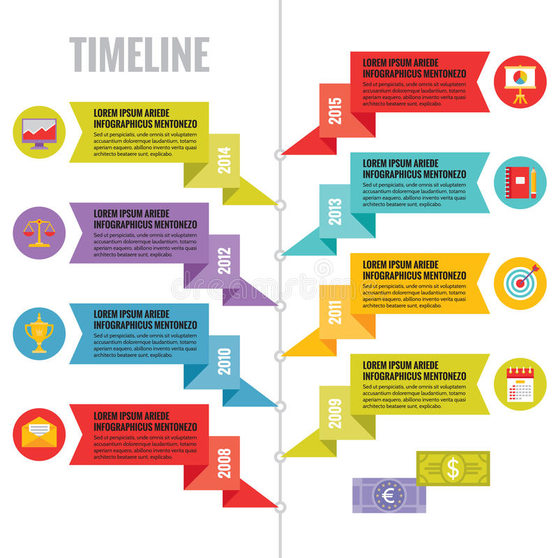 Infographic Vector Concept in Flat Design Style - Timeline Template with Icons stock illustration