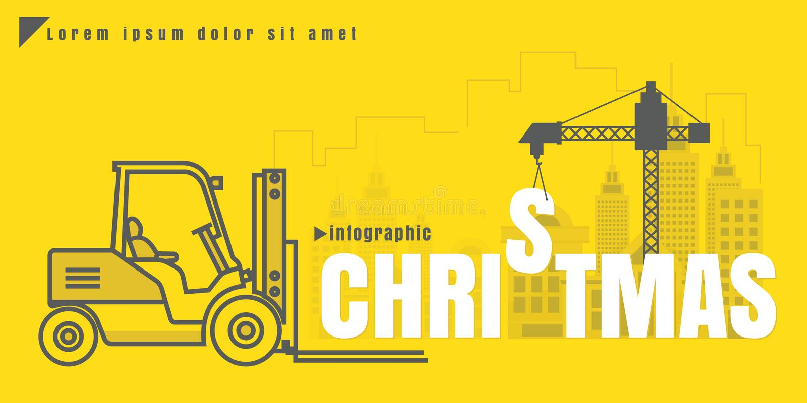 infographic Vector creative illustration of Christmas text forklift city building crane on yellow background. concept. Thin line vector illustration
