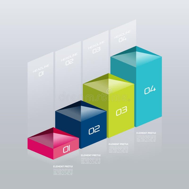 Infographic vector 3D grafiek, grafiek, digitaal diagram, werkschema, aantal geleidelijke optie stock illustratie