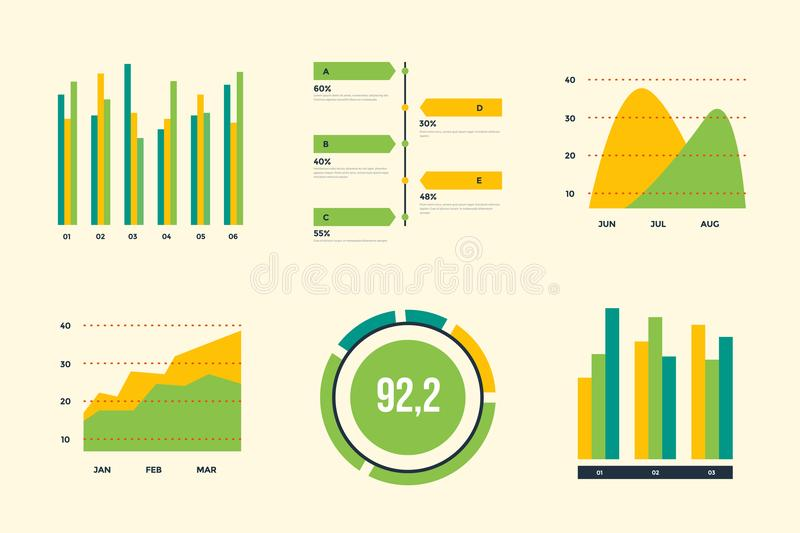 Infographic vector elements. Set of financial and marketing charts. royalty free illustration