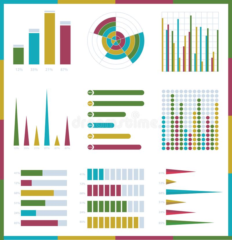 Infographic vector set. Rich collection of elements for marketing presentation, business reports. Data visualisation, quality layout templates, data analytics stock illustration