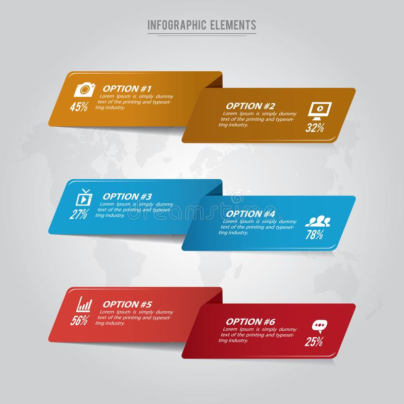 Vector infographic template with six options royalty free illustration