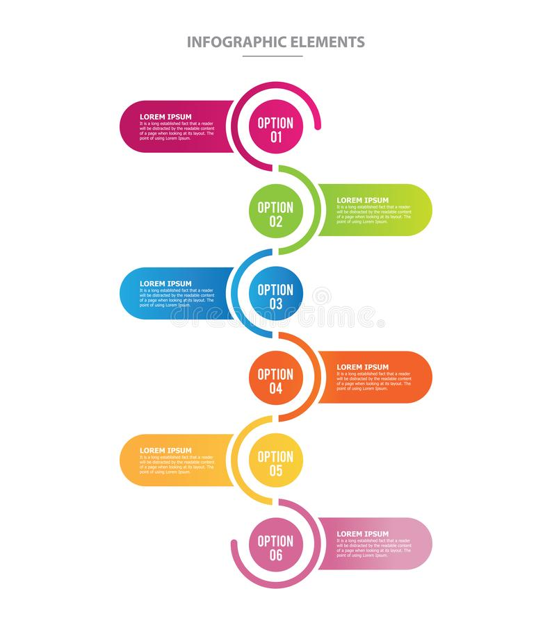 Infographic vector template with six options steps vector illustration