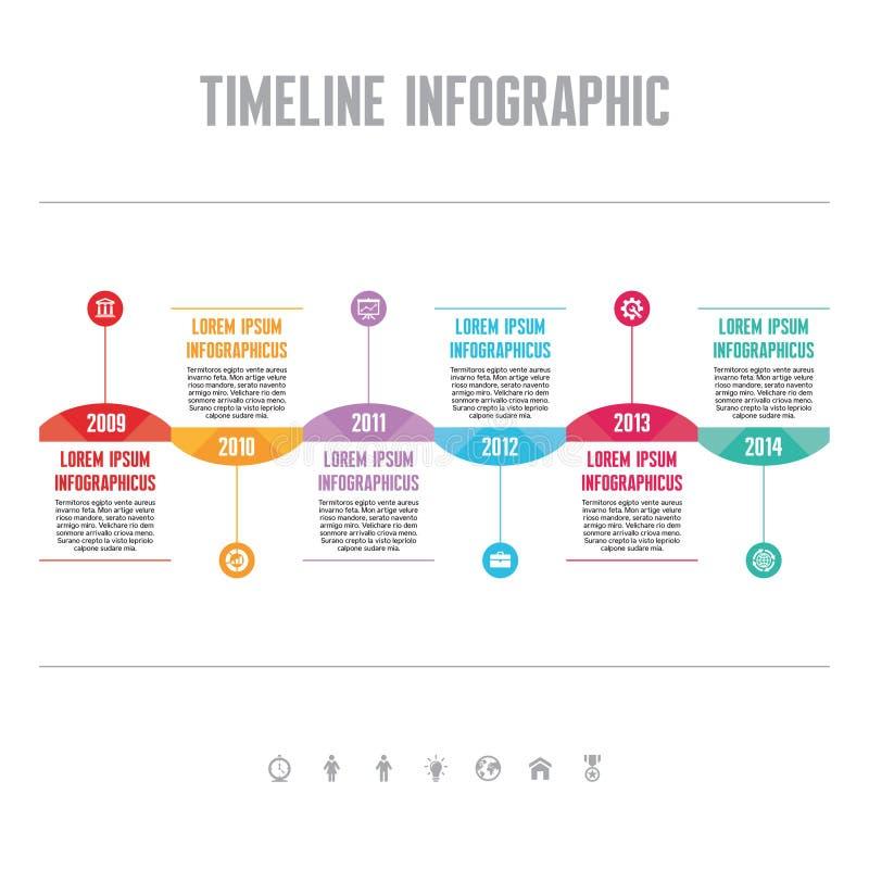 Infographic-Vektor-Konzept in der flachen Design-Art - Zeitachse-Schablone stock abbildung