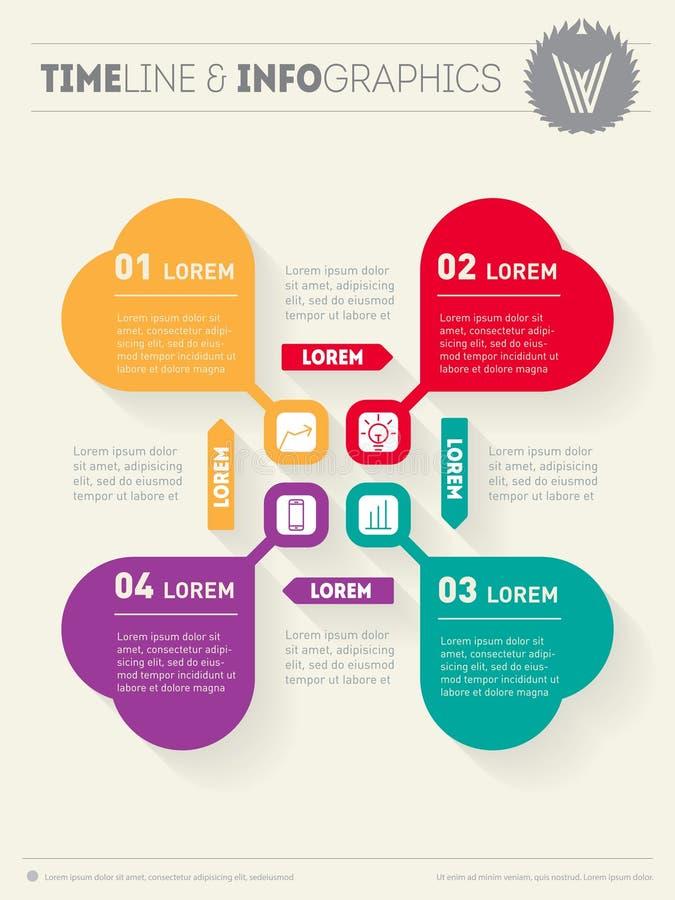 Infographic vektor Rengöringsdukmall för cirkuleringsdiagram eller presentati royaltyfri illustrationer