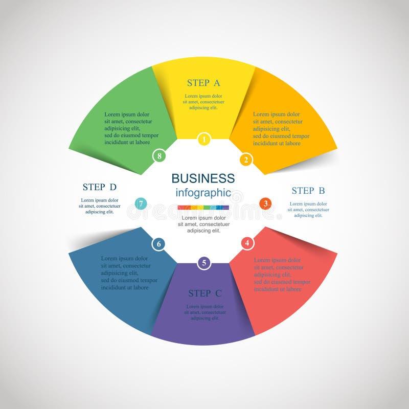 Infographic vektorcirkel vektor illustrationer