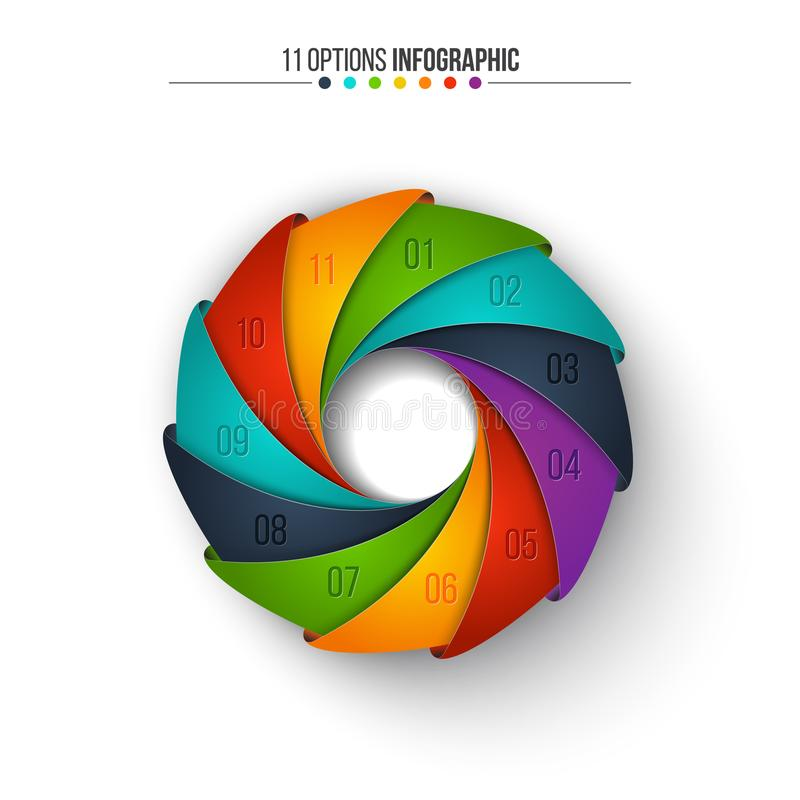 Infographic vektorcirkel Affärsidéen med 11 alternativ, särar, kliver eller processar royaltyfri illustrationer