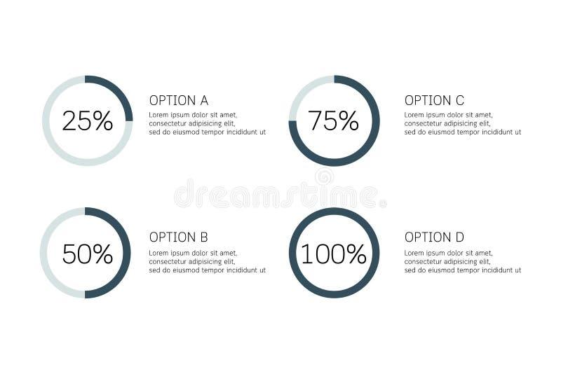 Infographic vektorcirkel, cirkuleringsdiagram, graf, presentationspajdiagram Affärsidéen med 4 alternativ, särar, moment, process royaltyfri illustrationer