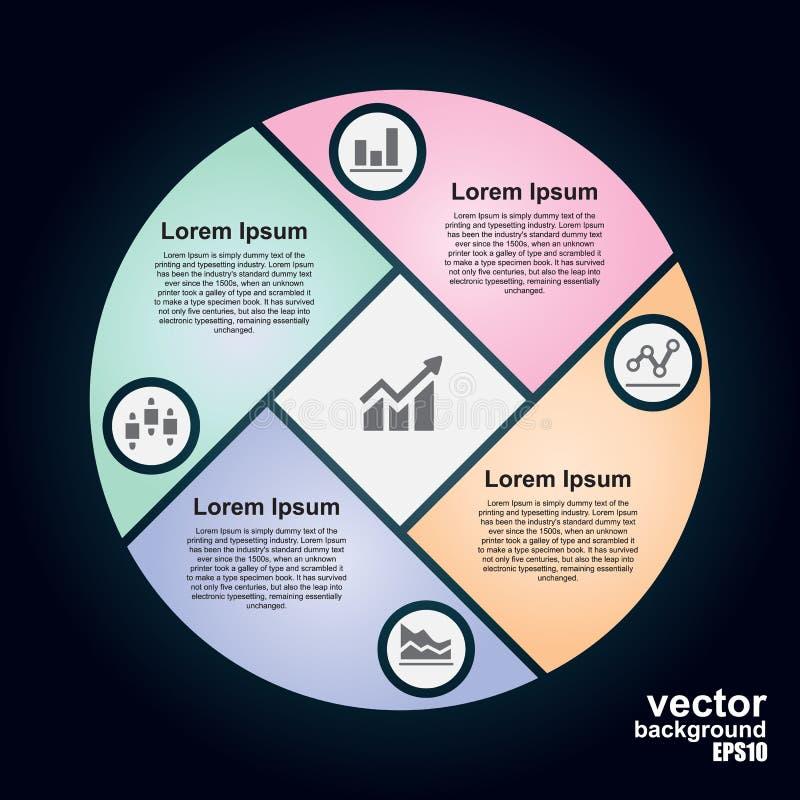 Infographic vektorcirkel Mall för cirkuleringsdiagram royaltyfri illustrationer