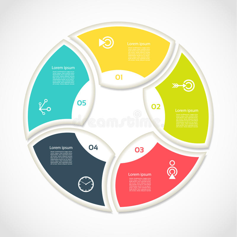 Infographic vektorcirkel Mall för cirkuleringsdiagram, graf, presentation och runt diagram Affärsidé med 5 alternativ, del stock illustrationer