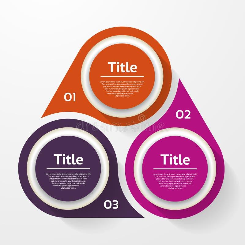 Infographic vektorcirkel Mall för diagram, graf, presentation och diagram Affärsidé med tre alternativ, delar, moment vektor illustrationer