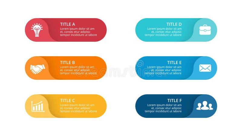 Infographic vektorcirkelpilar, cirkuleringsdiagram, etiketter graf, klistermärkepresentationsdiagram Affärsidé med 6 stock illustrationer