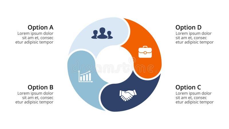 Infographic vektorcirkelpilar, cirkuleringsdiagram, geometrisk graf, presentationsdiagram Affärsidé med 4 alternativ stock illustrationer