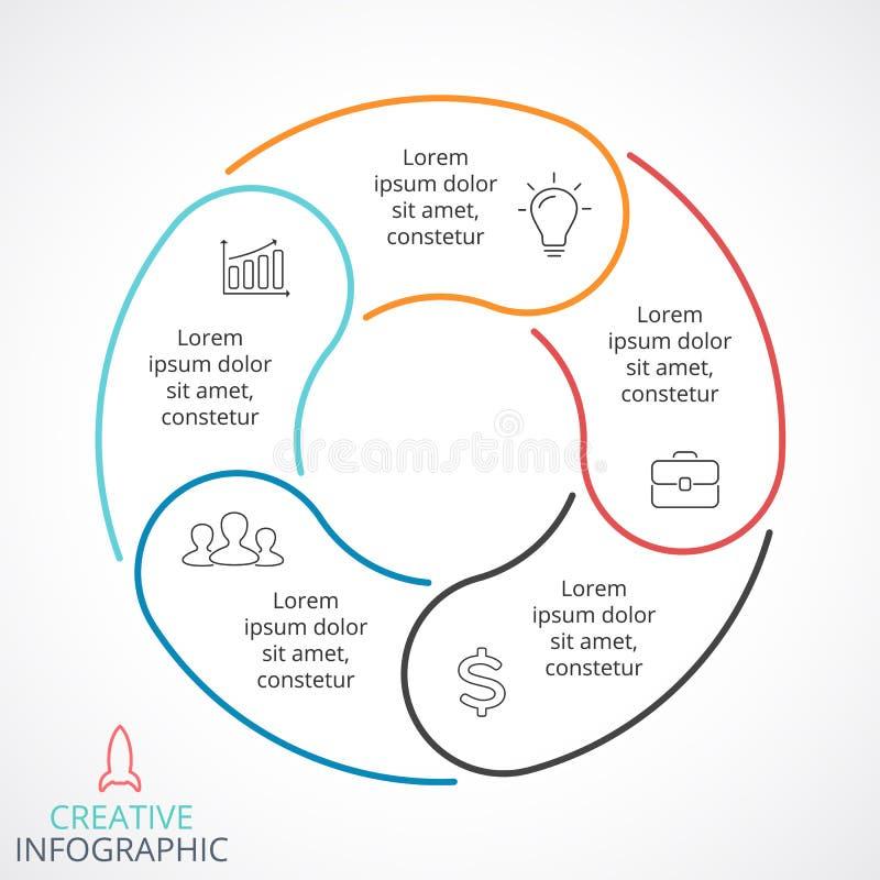 Infographic vektorcirkelpilar, cirkuleringsdiagram, linjär graf, presentationsdiagram Affärsidé med 5 alternativ royaltyfri illustrationer