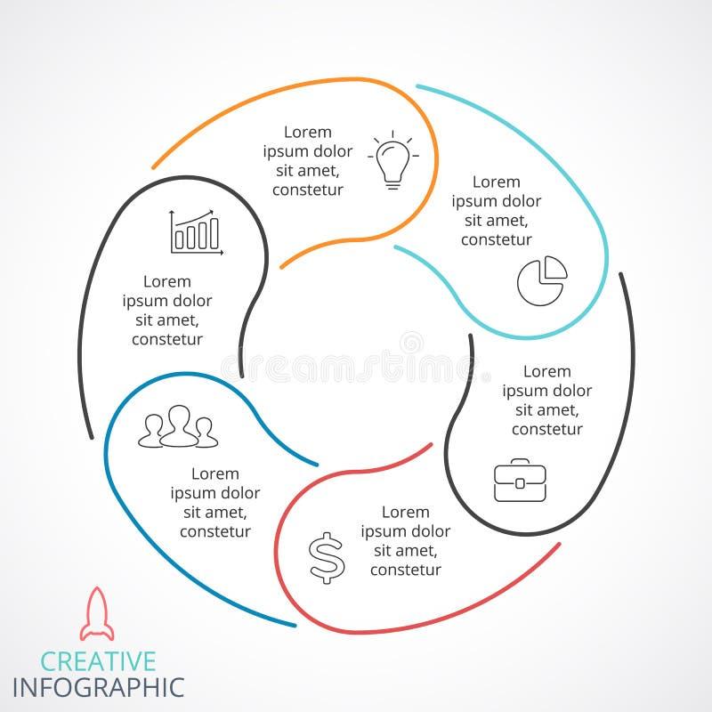 Infographic vektorcirkelpilar, cirkuleringsdiagram, linjär graf, presentationsdiagram Affärsidé med 6 alternativ royaltyfri illustrationer