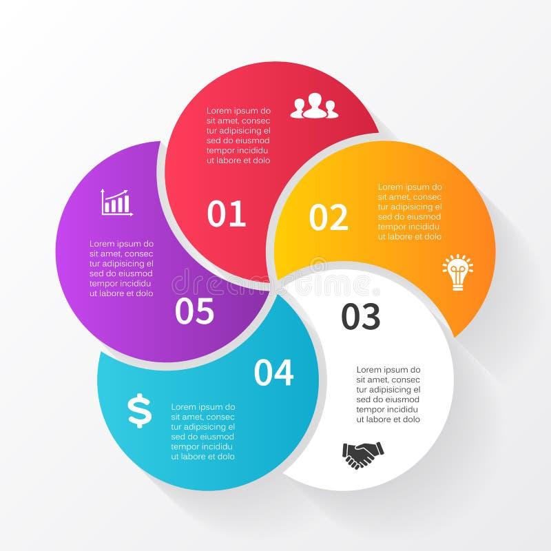 Infographic vektorcirkelpilar, diagram, graf, presentation, diagram Konjunkturbegrepp med 5 alternativ, delar royaltyfri illustrationer