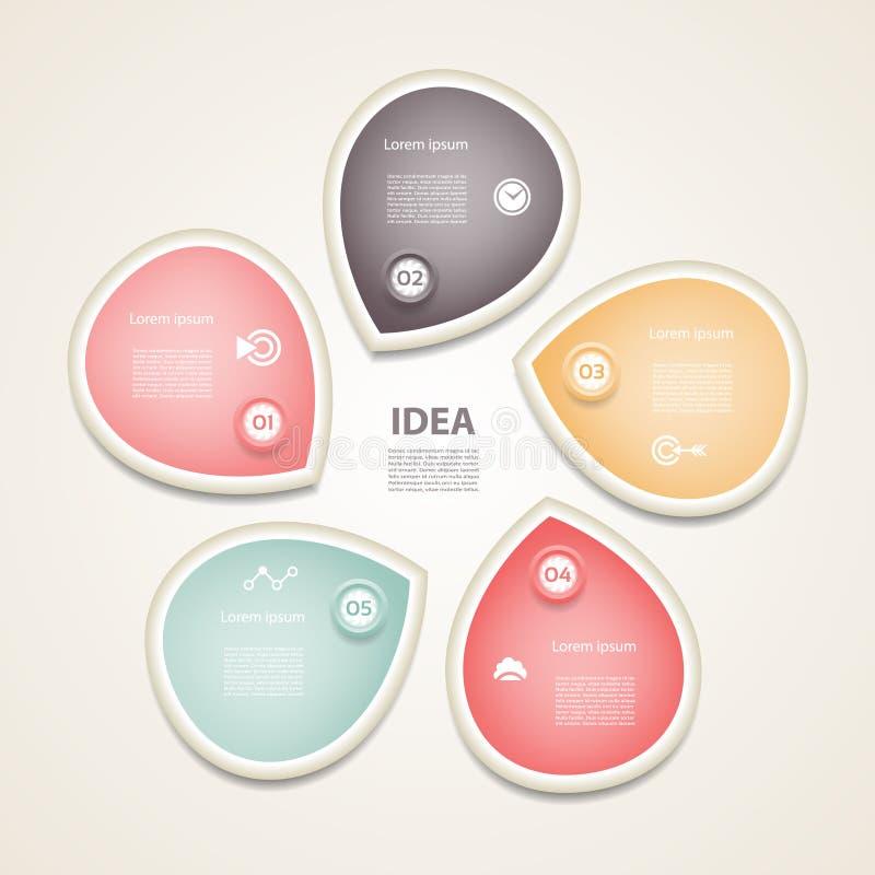 Infographic vektorcirkelpilar, diagram, graf, presentation, diagram Konjunkturbegrepp med 5 alternativ, delar, moment, proces royaltyfri illustrationer