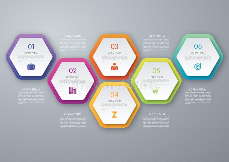 Infographic vektorcirkelsexhörning vektor illustrationer