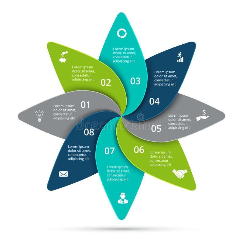Infographic vektorcirkulering Affärsidéen med 8 alternativ, särar, kliver eller processar vektor illustrationer