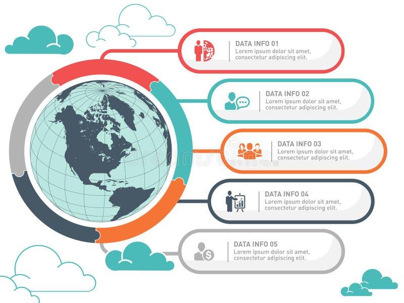 Infographic vektordesign för världskarta Infographic designmall, jordbaner stock illustrationer