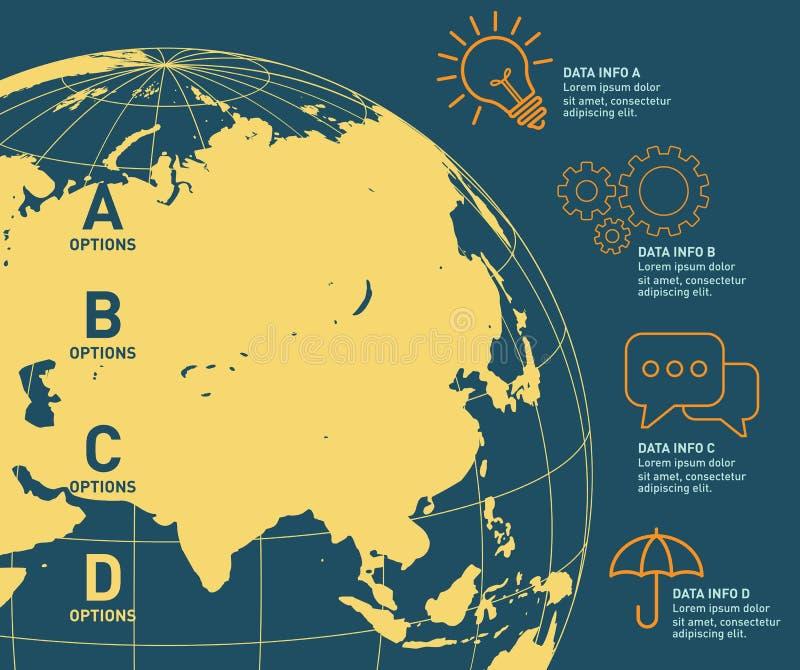 Infographic vektordesign för världskarta Infographic designmall, jordbaner royaltyfri illustrationer