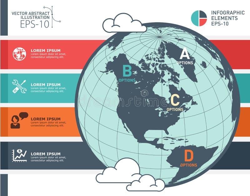 Infographic vektordesign för världskarta Infographic designmall, jordbaner vektor illustrationer