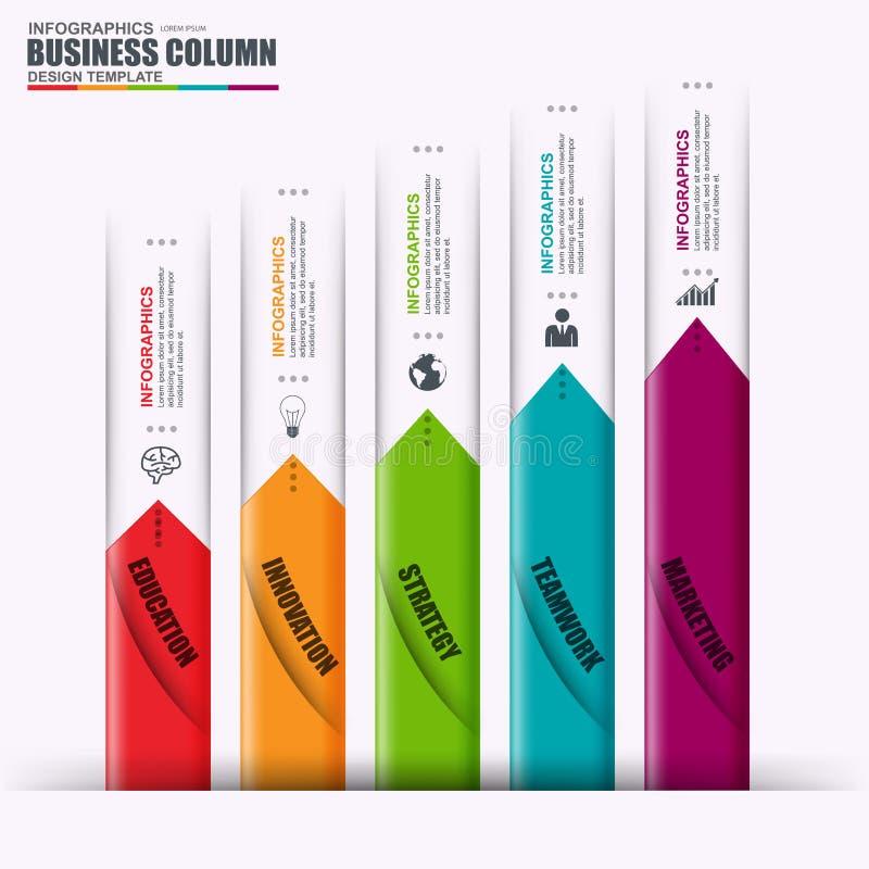 Infographic-Vektordesignschablonenmarketing-Stangenelemente Kann für Arbeitsflussplan, Datensichtbarmachung, Geschäftskonzept ver lizenzfreie abbildung