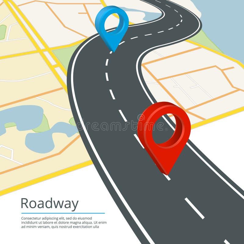 Infographic-Vektorkonzept von verschiedenen Kartenrichtungen Navigationen auf Straße lizenzfreie abbildung