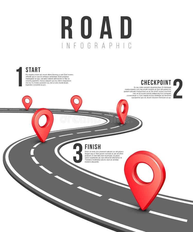 Infographic vektormall för väg stock illustrationer