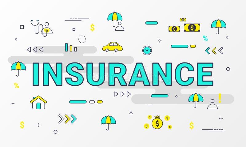 Infographic verzekerings de Diensten Vlak de pictogrammenconcept van de lijnstijl zoals Huis, Bezit, Gezondheid, het Leven, Inkom vector illustratie